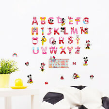 Minnie Mickey Mouse Alphabet Wall Sticker Decal Mural Kids Nursery Decor Cartoon