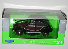Welly - CITROEN 2CV 6 Charleston (Burgundy + Black) Die Cast Model - Scale 1:24