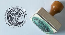 Custom Orchid Crest Address Ex Libris bookplate rubber stamp by Amazing Arts