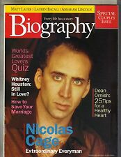 NICOLAS CAGE Biography Mag 2/99 WHITNEY HOUSTON DEAN ORNISH ABRAHAM LINCOLN PC
