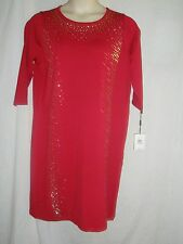 NEW WOMEN CALVIN KLEIN 3/4 SLEEVE RED WITH BEADS SWEATER DRESS PLUS SIZE 1X