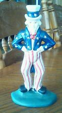 VINTAGE RARE - Antique Cast Iron Uncle Sam Door Stop Book End Paper Weight 9""