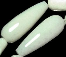30mm Jade Faceted White Drop Gemstone Loose Beads 8pc