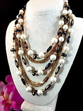 60'S CROWN TRIFARI 5 STRAND GOLDTONE CHAIN LINK FAUX PEARL MODERN BEAD NECKLACE