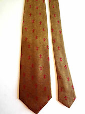 "JACK SIMPSON - TAN FLEUR DE LIS - SILK NECKTIE - NWOT - 58""LONG - 4""WIDE"