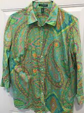 Ralph Lauren Top Sz 2X 100% Cotton Soft Paisley Button Up Blouse Shirt Plus