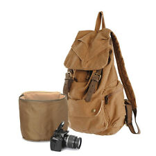 Vintage Canvas Travel DSLR Camera Photo Bag Backpack Braun for Nikon Sony Canon
