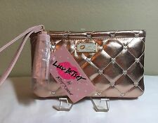 NWT Betsey Johnson Luv Betsey Rose Gold Pink Quilted Heart Wristlet Pouch Purse