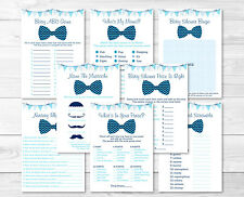 Chevron Bow Tie Baby Shower Games Pack - 8 Printable Games