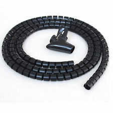 BLACK 2 METRE PC TV CABLE TIDY KIT WIRE ORGANISING WRAP TOOL SPIRAL OFFICE HOME