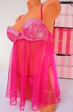 NWT Victoria's Secret Lingerie Set Fly-away Babydoll Push-up 34C String S Pink