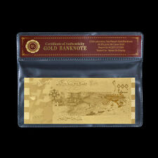 Rare Syria Gold Banknote 1000 Syrian Pounds 24k Gold Foil Asian Note /w Sleeve