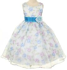 *New* Girls Kids Dream Organza Floral Special Occasion Dress ~ UK Age 18 -24 Mth