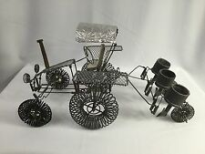 Vintage Hand Made Wire Tractor And Plow Sculpture Industrial Metal Art