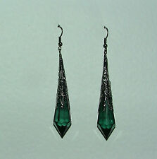 LONG GREEN VICTORIAN STYLE EARRINGS BLACK PLATED FILIGREE ACRYLIC FP  hook