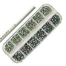 3000 EMERALD & LIGHT GREEN NAIL ART RHINESTONE 2MM ROUND DIAMANTE GEMS - TOOL