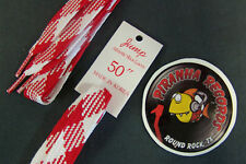 """RED White Plaid Fat Flat 50"""" x (5/8""""-3/4"""") JUMP Shoelaces Shoe Strings"""