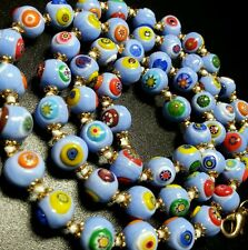 VINTAGE MURANO VENETIAN PERIWINKLE MILLEFIORI GLASS BEAD KNOTTED NECKLACE