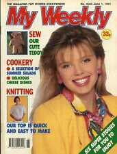 MY WEEKLY MAGAZINE 1/6/1991 SEWING PATTERN CUTE TEDDY, NIGEL HAVERS, COOKERY