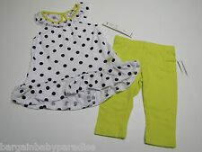 NWT DKNY 2 Pc Polka Dots Dress Top & Leggings Toddler Girls 3T $46