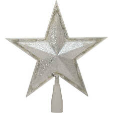 """Time Christmas Ornaments 10.75"""" Silver Star Tree Topper 24 LED Cool White Lights"""