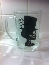Hand Painted Gothic Voodoo Silhouette Skull Top Hat Large Washable Glass Tankard
