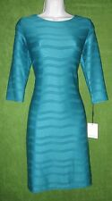 Calvin Klein Lagoon Blue Pintuck Pleat Texture Stripe Work Social Dress 6 $129
