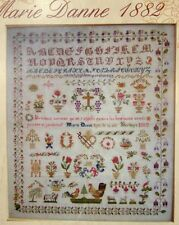 SUPERB FRENCH ANTIQUE SAMPLER CROSS STITCH PATTERN CHART Marie Danne