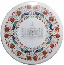 "18"" White Marble Corner Coffee Art Table Top Tajmahal Mosaic Inlay Marquetry Art"