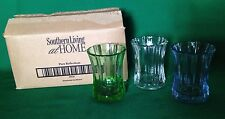 Southern Living Pure Reflections Set 3 Glass Candle Votive Holders Mini Vases