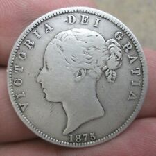 1875 Great Britain Queen Victoria Silver Half Crown Coin No Reserve
