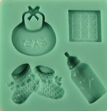 Baby Things 4 Cavities Silicone Mold for Fondant Cake Decorating - NEW
