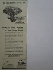 2/1947 PUB CONTINENTAL MOTORS RED SEAL AIRCRAFT ENGINE C75 C85 ORIGINAL AD