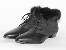 Vintage 80's Black FAUX LEATHER REAL FUR CUFF LACE UP Small Heel ANKLE Boots 6.5