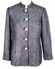 NWT Chicos Jacket Sz 0 Womens Metallic Tweed Blazer Rhinestone Buttons (S 4 / 6)