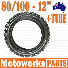 """80/100 - 12 3.00 - 12"""" Inch Rear Knobby Tyre Tire + Tube PIT PRO Trail Dirt Bike"""