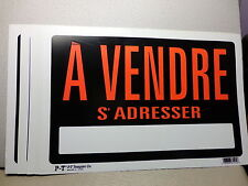 """LOT of 10    8"""" x 12"""" Plastic Signs  'A VENDRE S' ADRESSER  French  FOR SALE"""