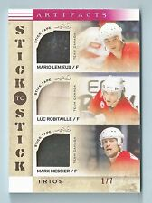 MARIO LEMIEUX LUC ROBATAILLE MARK MESSIER 2014/15 ARTIFACTS STICK TO STICK # 1/7