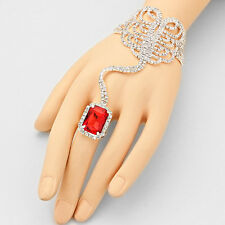 Silver and Red Crystal Emerald Cut FASHION Hand Chain Bracelet