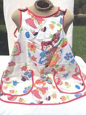 Raggedy Ann Bear Adult Kitchen Apron Smock Gingham Primary Colors Vintage Kitsch