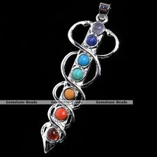 Wrap Sword Gemstone Bead Chakra Healing Point Energy Charms Pendant For Necklace