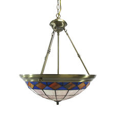 """Antique Brass And Leaded Stained Glass Chandelier/Pendant 19"""" x 24"""""""