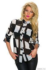 Damen Krepp Bluse Tunika Hemd Rechteck Muster schwarz weiss S 34 36 38 Büro Mode