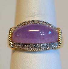Lavender Jade Ring 14K Yellow Gold 1/4ct Diamonds Size 6.75