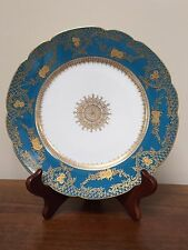 GDA Limoges Teal & Gold Encrusted Plate with Roses & Medallion ~ France