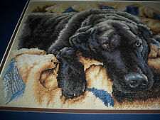 Cross Stitch FREE SHIPPING in USA! Double Matted Framed Black Lab Dog Labrador