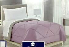 Twin Comforter Reversible Light Purple and Khaki Gray Diamond Quilted 66x86 New