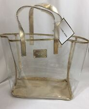 MICHAEL KORS Clear/Gold Large Tote Shopper Travel Beach Bag Jelly New!