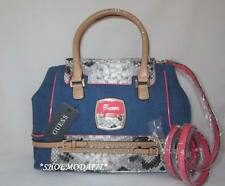 GUESS Nini Bag Purse Handbag Satchel Sac White Stone Multi Denim Jeans New