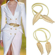 Fashion Gold Silver Leaf Buckle Belt Women Dress Coat Skinny Waist Elastic Band